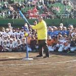 第21回 神奈川オープン ふれあいティーボール大会 開会式にて試打にチャレンジ。