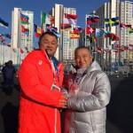 朝一の日程は、大島理森衆議院議長を先頭に、オリンピック選手村を訪問しました。